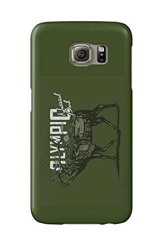 Olympic National Park, Washington - Elk - Scenery Animal Silhouette (Galaxy S6 Cell Phone Case, Slim Barely (Olympics Silhouette)