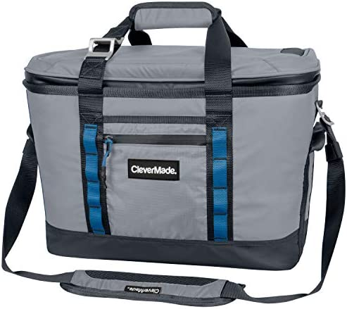 CleverMade Maverick Collapsible Cooler Bag – 50 Can Insulated Leakproof Soft Sided Beverage Tote with Shoulder Strap, Bottle Opener and Storage Pockets, Grey