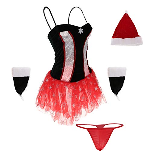 D DOLITY Ensemble de Tenue Lingerie Femme Copsplay No?l Bikini Robe de Nuit Coquine 6 Pices: Soutien-gorge + Slip+ Bonnet + Bandeau Forme en Oreille de Lapin