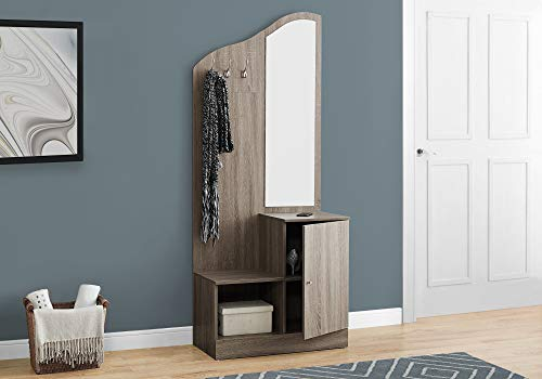 Monarch Specialties 74.5 in. Hall Tree with Storage Unit and Mirror (With Hall Tree Bench And Mirror)