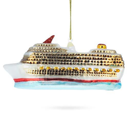 BestPysanky Cruise Ship Blown Glass Christmas Ornament