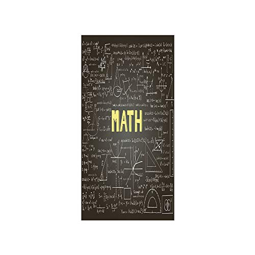 3D Decorative Film Privacy Window Film No Glue,Mathematics Classroom Decor,Dark Blackboard Word Math Equations Geometry Axis Decorative,Dark Brown White Yellow,for Home&Office