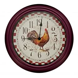 French Country Rooster Kitchen Wall Clock - 12' Diameter