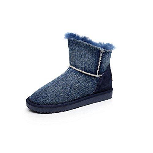 Il fondo corto tubo piatto della neve di inverno stivali ragazza con velluto Denim blu misto colori studente cotone scarpe , denim blue , 37 DENIMBLUE-37