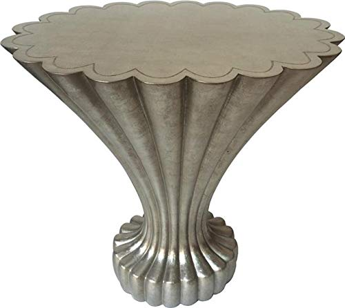 Alden Parkes Accent Table Scalloped Eggshell Inlay Chic Champagne Leaf
