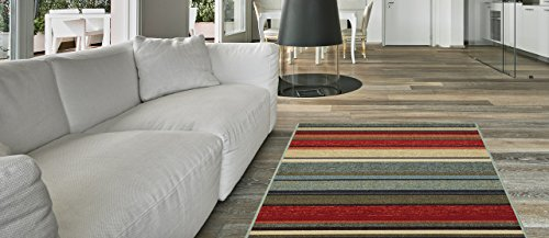 Anti-Bacterial Rubber Back AREA RUGS Non-Skid/Slip 3x5 Floor Rug | Multicolor Stripes Indoor/Outdoor Thin Low Profile Living Room Kitchen Hallways Home Decorative Traditional Rug