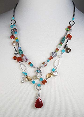 African Trade Beads, Carnelian, Turquoise Double Strand Necklace