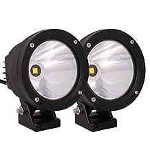 Lightronic Pair 4inch 25W CREE LED Work Driving Light Spot Offroad round Head Fog Lamp Jeep Truck 4x4 (2pcs)
