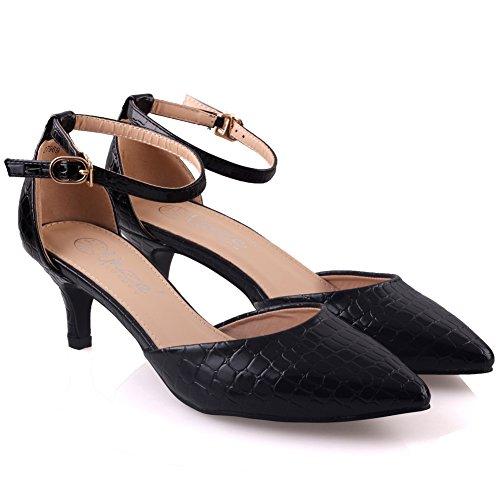 Unze Zapatos Chic puntiagudo Corte Mujeres Pattel ' Negro
