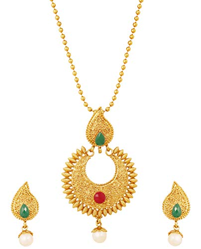 Touchstone Indian Bollywood Faux Ruby Emerald Pearls Paisley/Temple Jewelry Pendant in Antique Gold Tone