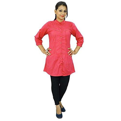 Ocasional del algodón de la túnica de las mujeres de Boho Top 3/4 mangas desgaste del verano Vestido de tirantes Pink-1
