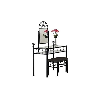 Asia Direct Black Metal Bedroom Vanity Glass Table & Bench Set from asia direct