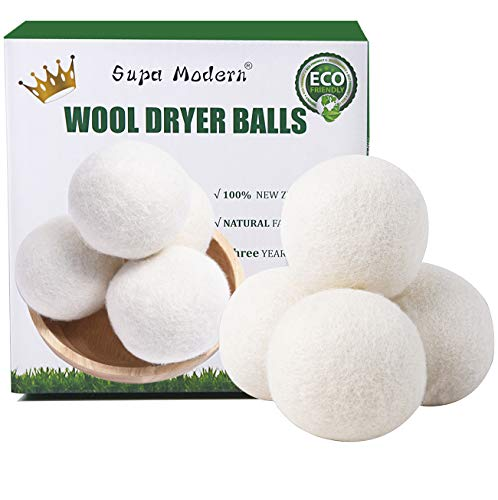 Wool Dryer Balls Organic, Natural Fabric Softener 100% New Zealand Wool, Chemical Free Eco Wool Dryer Balls Laundry, Handmade Reusable Balls Reduce Wrinkles & Shorten Drying Time