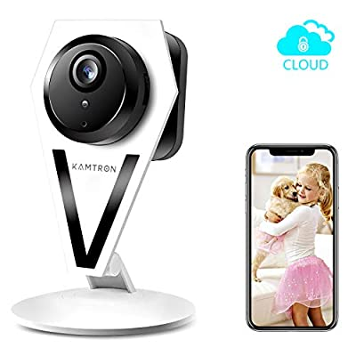 Security Camera WiFi Pet Camera - KAMTRON Wireless Home IP Camera with Motion Detection 2 Way Audio and Night Vision - Cloud Service, White