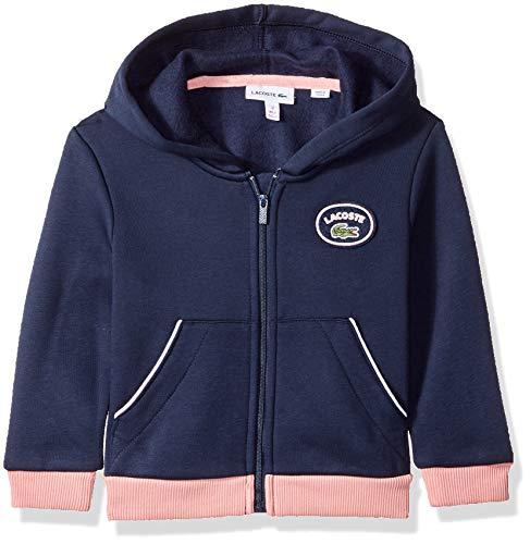 - Lacoste Little Girl Badge Fleece Sweatshirt, Navy Blue/MELITTE, 5