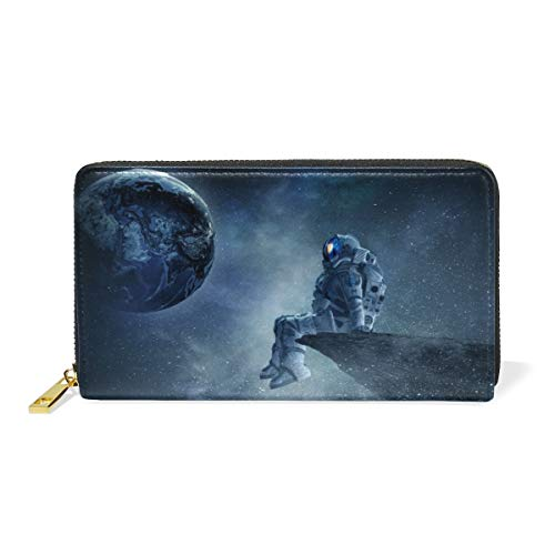 Universe Astronaut Earth Planet Wallet for Women Leather Zipper Phone Coin Purse