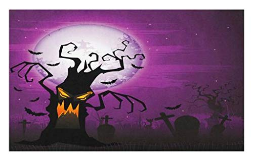 Lunarable Halloween Doormat, Scary Tree Creepy Human Face and Twiggy Arm Grunge Cemetery Scene Drawing Art, Decorative Polyester Floor Mat with Non-Skid Backing, 30 W X 18 L inches, Purple Black for $<!--$24.99-->