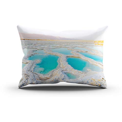 Sgvsdg Throw Pillow Cover View Dead Sea Coastline Salt Crystals Jordan Israel Mineral Rectangle Hidden Zipper Home Sofa Living Room Office Cushion Decorative Pillowcase 20 X 36 Inch -