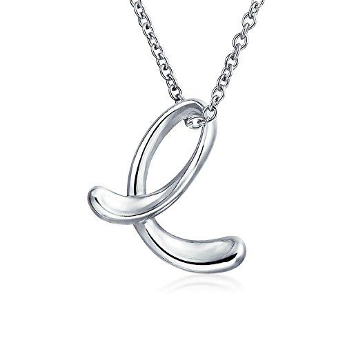 Letter E Cursive Alphabet Script Initial Pendant Necklace For Women 925 Sterling Silver 18 inches ()