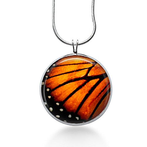 Butterfly Wing Necklace Pendant - Monarch, Handmade Jewelry -