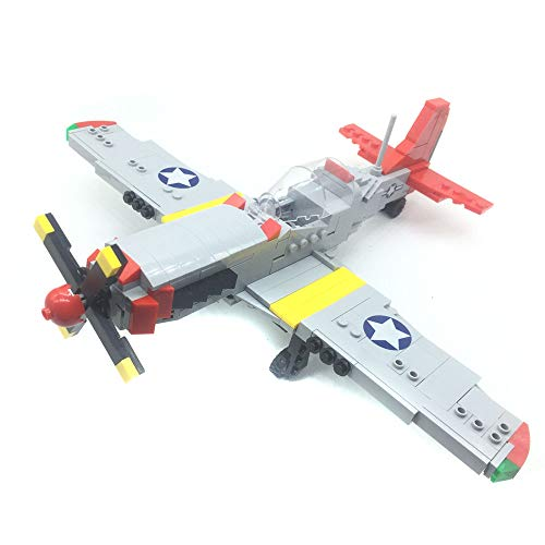Bestoyz The Fighter of World War II North American P-51D Mustang Building Bricks Kit, WWII Military US Army Airplane Model Toys (377PCS)