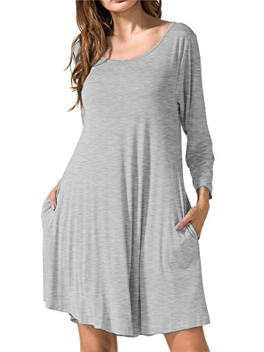 - JollieLovin Women's Casual Swing 3/4 Sleeve Pockets T-Shirt Loose Dress (Heather Light Gray, 3X)