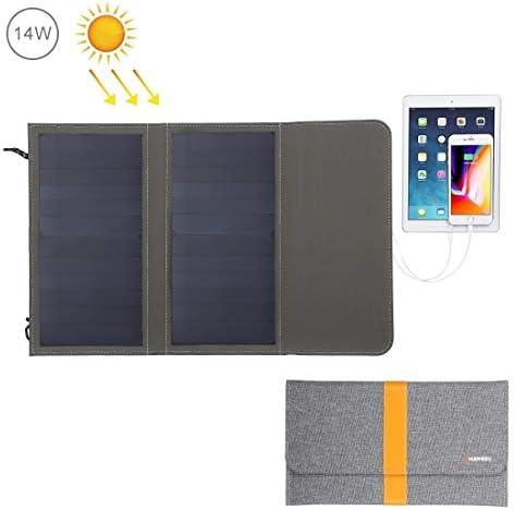 太陽電話充電器 5V / 2.1A最大デュアルUSBポートを持つ太陽電池パネル14W折り畳み式のソーラーパネル充電器