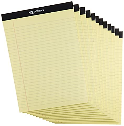AmazonBasics Legal/Wide Ruled 8-1/2 by 11-3/4 Legal Pad - Canary (50 sheets per pad, 12 pack) - Office Basics
