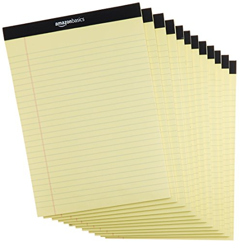 AmazonBasics Legal/Wide Ruled 8-1/2 by 11-3/4 Legal Pad - Canary (50 sheets per pad, 12 pack) by AmazonBasics