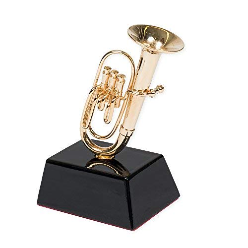 """3.75/"""" Gold Brass Tuba Miniature with Stand and Case"""