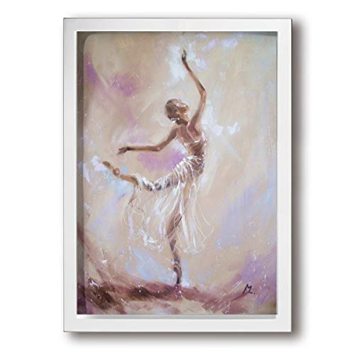 Little Monster Watercolor Art Ballet Dance Girl Framed and Stretched Painted On Canvas Home Decor Modern Art for Child Bedroom White