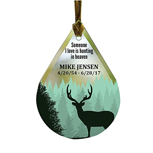 GiftsForYouNow Hunting Memorial Tear Drop Personalized Glass Ornament