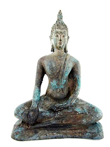 Blue Orchid Bronze Thai Sitting Buddha Statue Earth Touching