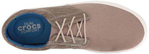 Crocs Mens Citilane Tela Pizzo M Moda Sneaker Kaki / Bianco