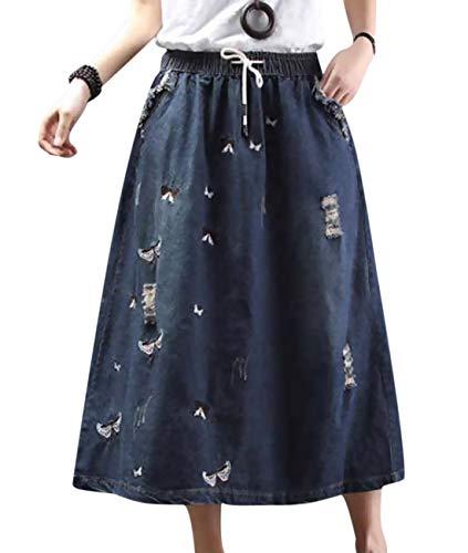 Petite Denim A-line Skirt - YESNO Girls Lovely Long Maxi Casual Loose Swing Denim Skirts Light Weight Embroidery/Pockets YAA