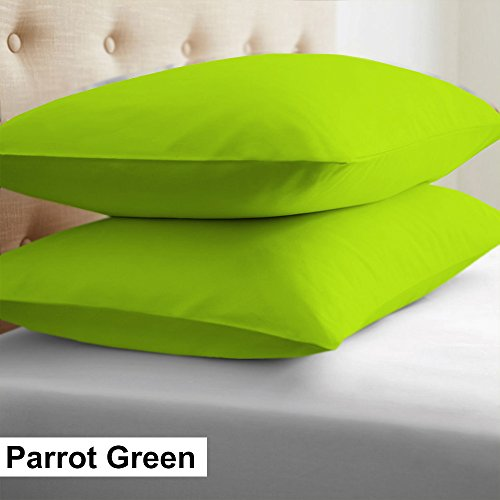 500 Tc Pillow - 2-Piece- Euroshams ~ Solid Pattern 100% Pima Cotton 500 Thread- Count European Super Soft 2 PC Pillow Cases ( 26 x 26 Inch (66cm x 66cm ) , Parrot green)
