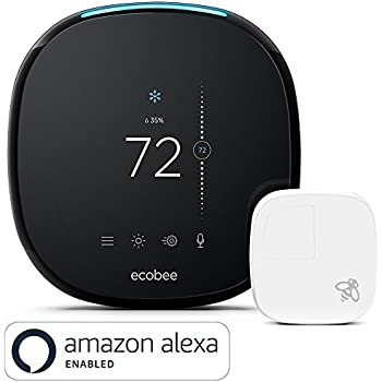 ecobee4 Smart Thermostat with Built-In Amazon Alexa, Room Sensor Included