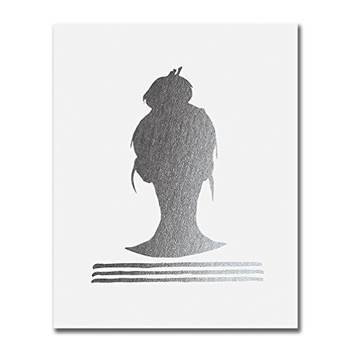 (Top Knot Silhouette Silver Foil Decor Print Woman Bun Hairstyle Stripes French Chic Girly Office Poster Wall Art 5 inches x 7 inches)