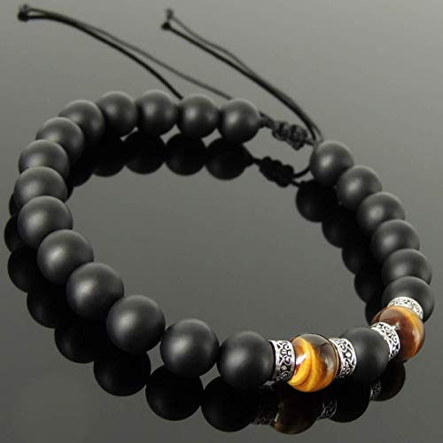 Art Deco Gemstone Jewelry Men's Women's Handmade Braided Bracelet with 8mm Grade AAA Brown Tiger Eye, Matte Black Onyx, Adjustable Drawstring, S925 Sterling Silver