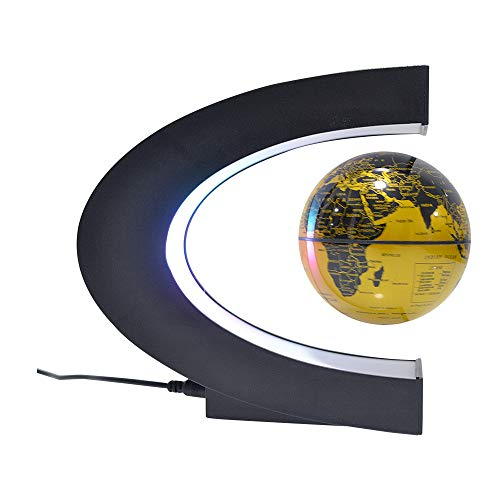 Leophoen Globe Magnetic Floating in Midair with Colorful LED Light for Interactive Education Novelty Promotion Gift and Desk Decoration (Gold)