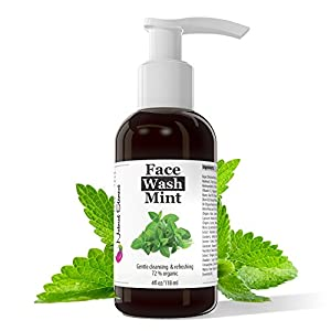 Facial Cleanser Face Wash Mint for Clear Skin, Anti-Blemish, Anti-Aging, Anti-Inflammatory for Oily, Dry and Sensitive Skin. Gentle, Effective, Natural and Organic, 4 ounces