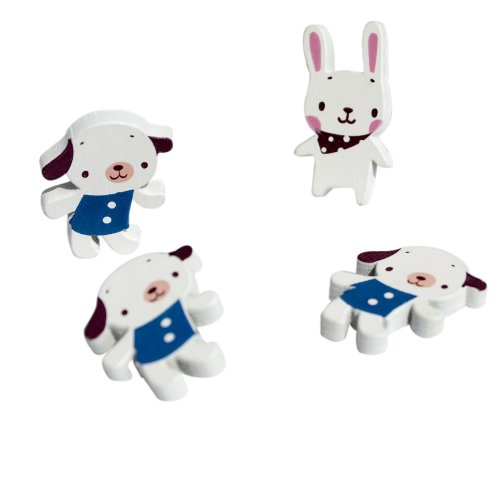 [White Dog & Rabbit] - Brooch / Brooch Pin / Animal Pin Brooch
