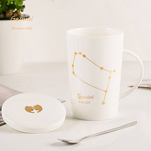 DEBON Creative 12 Constellations Large Capacity Cups for Drinking Coffee Simple Bone China Mugs Office Water Cups with A Cover and A Spoon (Gemini)
