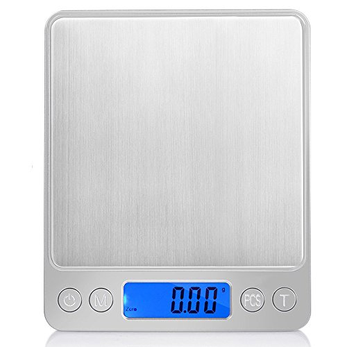 Digital Scale, LED Backlight Display, 3kg~0.1g Electronic Weighing Scales for Jewelry, Medicine, Milk Powder, Coffee, Pet Food and others, Stainless Steel + ABS