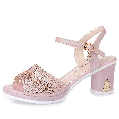 Heels In Single Summer Thirty Shoes Heels Buckles Fish Eight Pink 7Cm Mouths KPHY Sandals Wild Thick High Ladies' UBdHwH