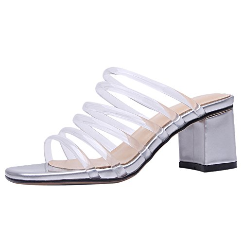Femmes Taoffen Silver Creux Sandales Chunky Txww8HqRd