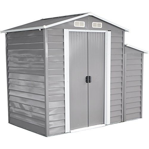 Bestmart INC 8'x5' Storage Shed Large Backyard Outdoor Garden Garage Tool Kit Building Warm Gray - Outdoor Storage Shed Extension