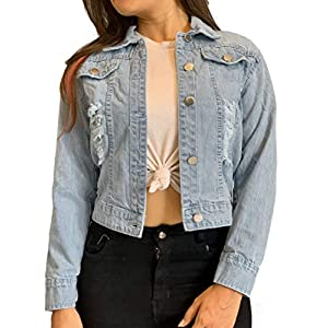 Shocknshop Ripped Saint Blue Regular Fit Crop Denim Jacket for Women (JKT26)