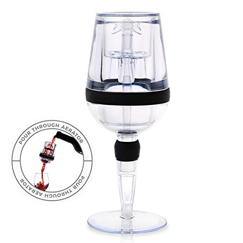 Freestanding Red Wine Aerator - One-of-a-Kind Self Standing Goblet Shaped Decanter With Built in Drip Stand for Leak and Mess Free Aeration in Seconds - by DeVine Accessories