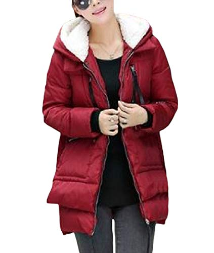 Cromoncent Women's Plus Size Winter Hoodie Militray Cotton-Padded Outerwear Parkas Coat Wine Red XS by Cromoncent